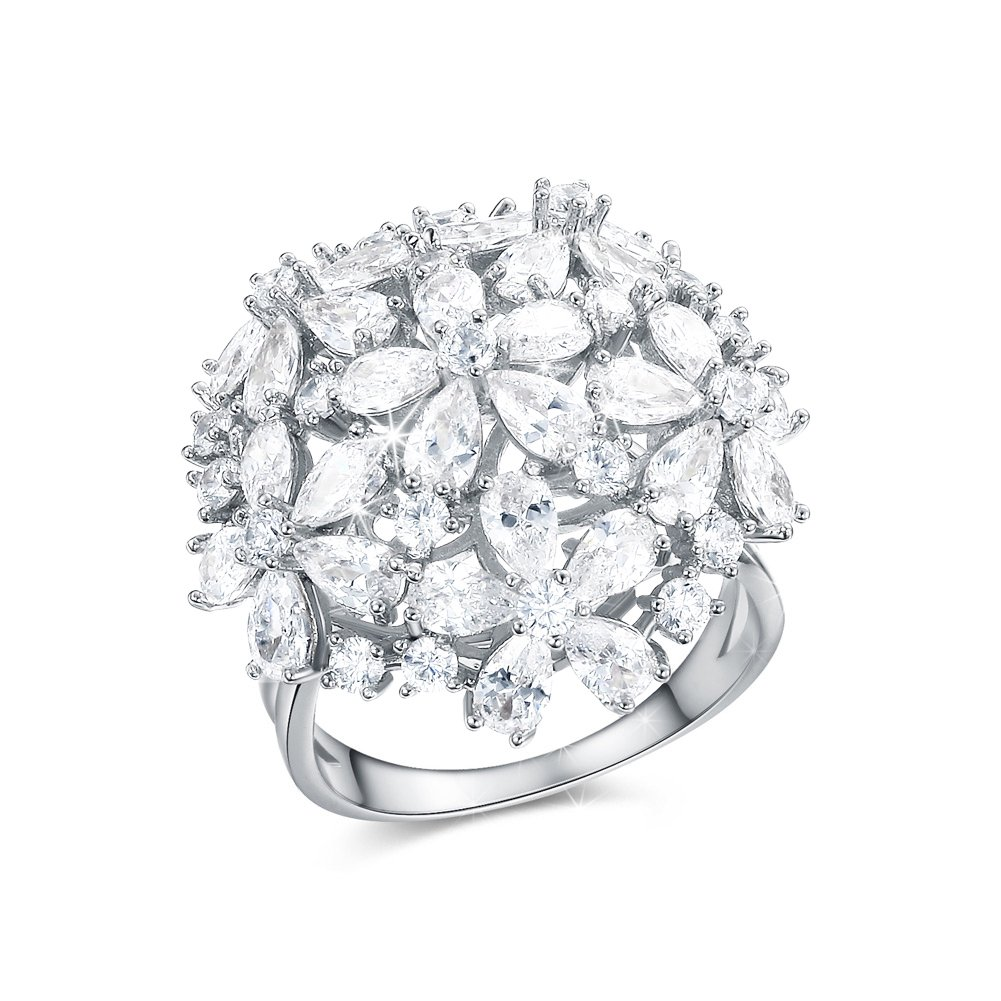 DIFINES Redbarry Flower Cluster Design Best Craft AAA CZ 18k Platinum Plated Party Ring, Size 7