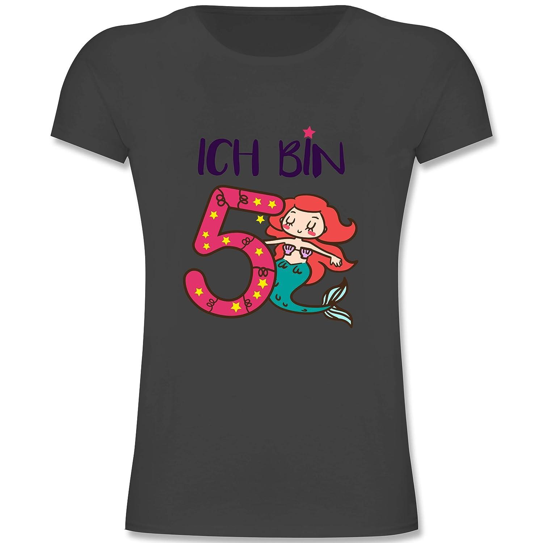 M/ädchen Kinder T-Shirt Geburtstag Kind Ich Bin 5 Meerjungfrau