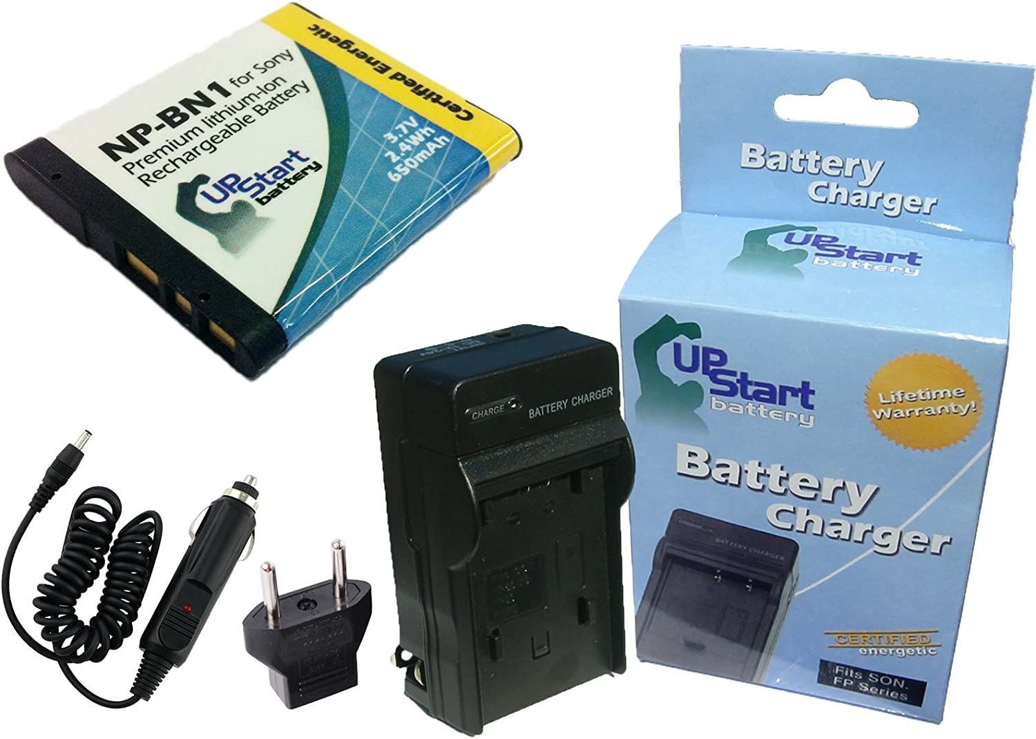 Compatible with Sony NP-BN1 Digital Camera Batteries and Chargers 650mAh 3.7V Lithium-Ion Replacement for Sony Cybershot DSC-W610 Battery and Charger with Car Plug and EU Adapter