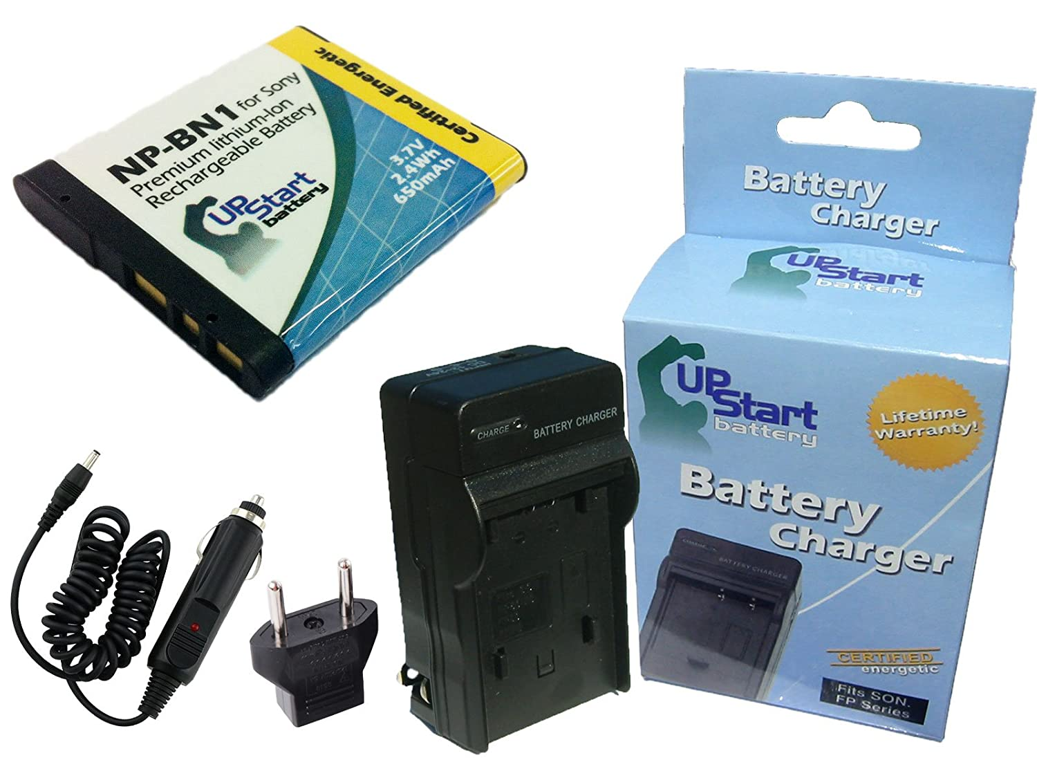 Sony DSC-W520 Battery and Charger with Car Plug and EU Adapter - Replacement for Sony NP-BN1 Digital Camera Batteries and Chargers (650mAh, 3.7V, Lithium-Ion) Upstart Battery NP-BN1-KIT-CAR-EU-DL445