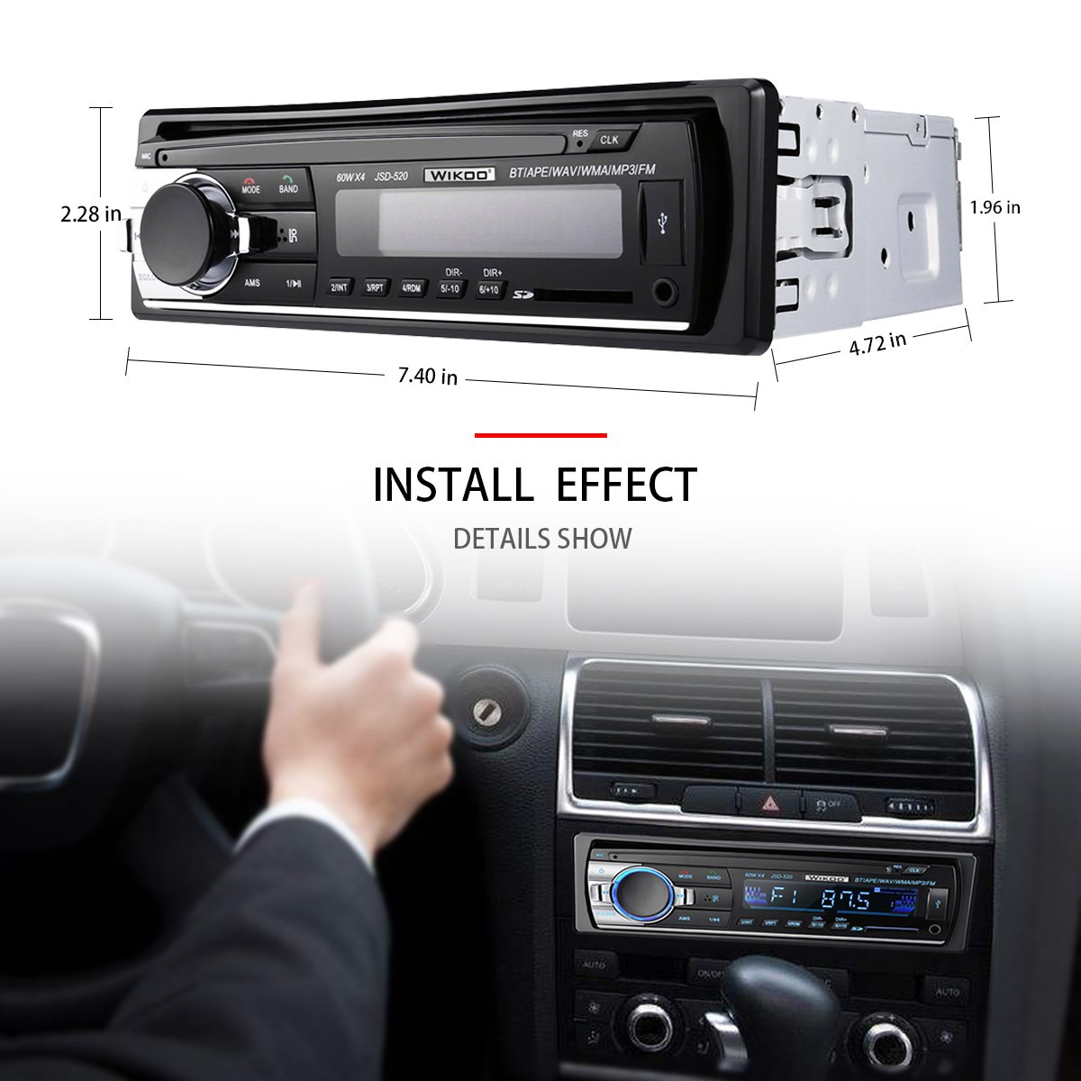 Digital Car Stereo - Wikoo Single-Din Bluetooth Car Stereo In Dash with Remote Control - Receivers USB/SD/Audio - MP3 Player/FM Radio, Supports Hands Free Calling by Wikoo (Image #5)