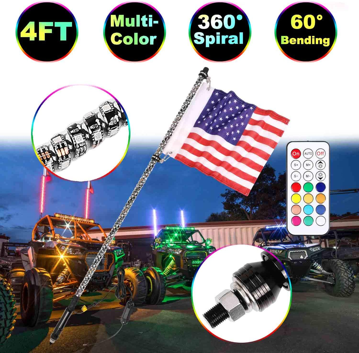4FT LED Whip Lights Moso LED LED Whip Lights RF Remote Controlled LED RGB Lights 360/° Spiral Light Whip Antenna light With Dancing//Chasing for Off Road ATV UTV Polaris RZR Jeep Trucks 4 Wheel