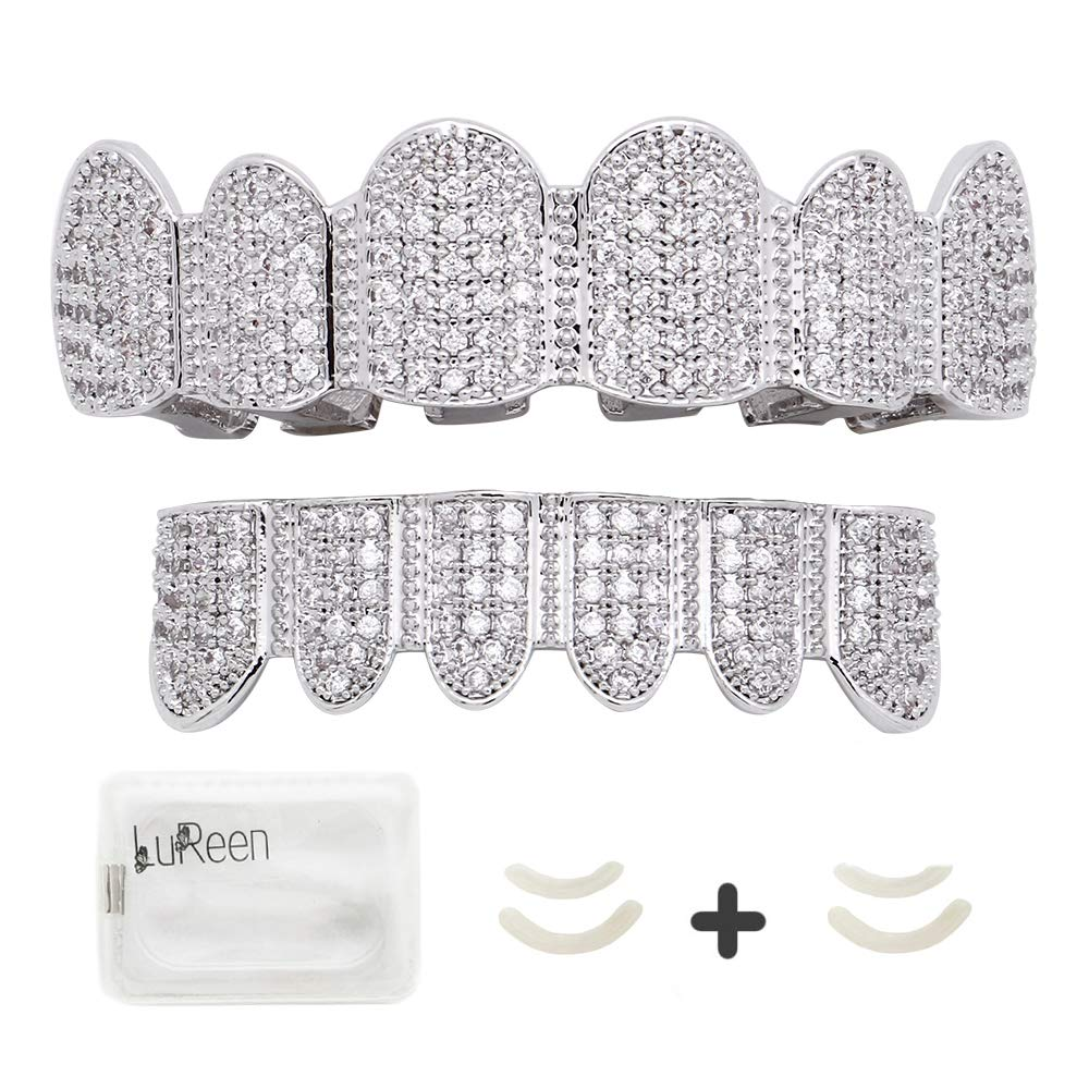 LuReen 18K Gold Plated Grillz CZ Teeth Top & Bottom Set Micropave Lab Simulated Diamonds Grillz+ 2 Extra Molding Bars (Silver Set) by LuReen