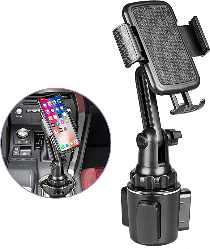 Galaxy S7,8,9,10,and All Smartphones Cell Phone Cup Holder for Car Compatible with iPhone Xs,XS MAX,XR,X,8,8Plus,7,7Plus,6,6Plus Car Holder Phone Mount,Phone Holder for Car Black