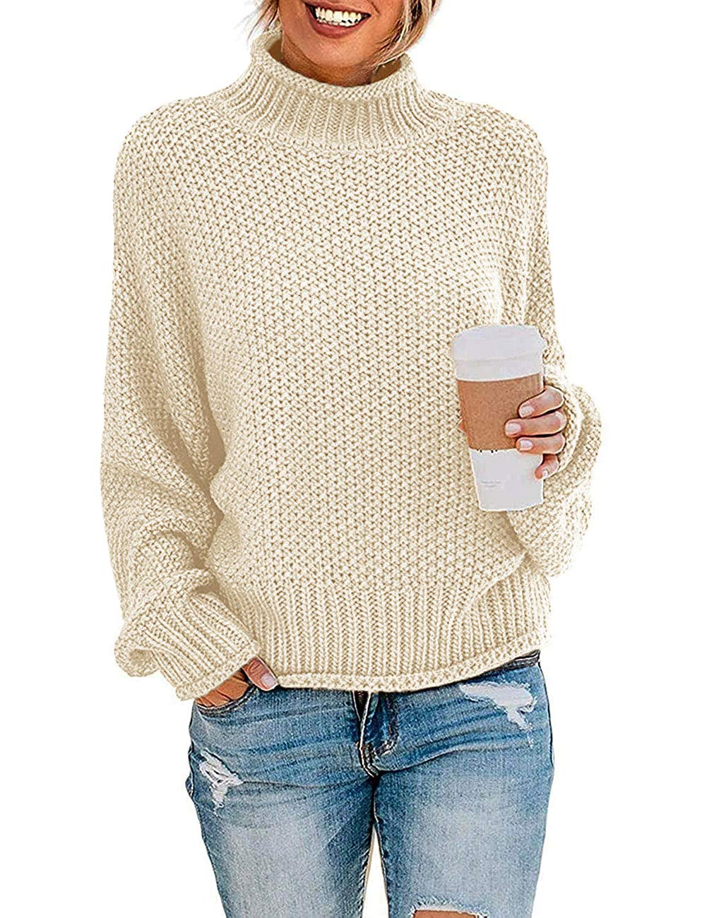 Women's Turtleneck Batwing Sleeve Loose Oversized Chunky Knitted Pullover Sweater Jumper Tops