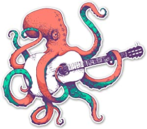 Octopus Playing Guitar - 5 Inch Full Color Decal for Macbooks or Laptops - Proudly Made in The USA from Adhesive VinylHorse
