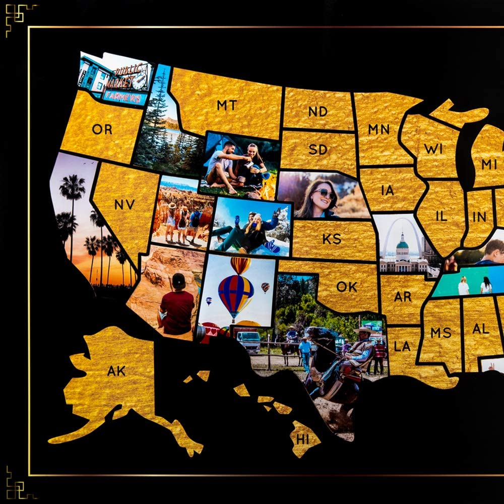 US Photo Map – 24 x 36 inch Black and Gold United States Travel Memory Map – Personalize with Photos of the States You've Been To - Includes Cutting Stencils and Photo Cropping Website Access