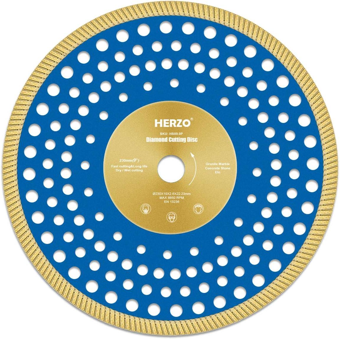 Disco de corte de diamante 230 mm HERZO Disco Diamante para corte de Porcelanico,Cer/ámica dura,Azulejos,M/ármol,Granito,Piedra caliza