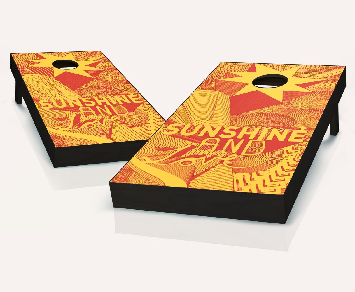 Sunshine and LoveエボニーStained Cornhole Boards withのセット8 Cornhole Bags B07BH2X8NK