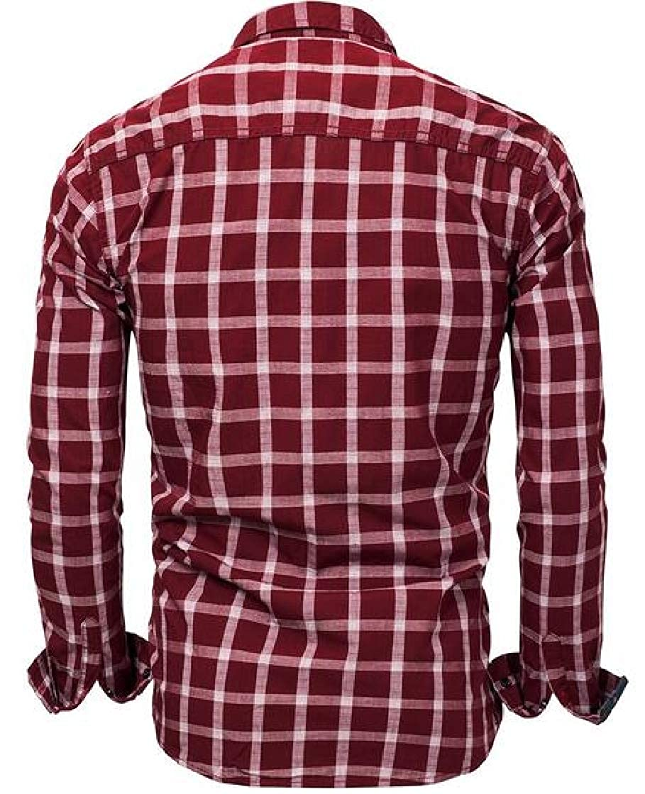 Etecredpow Men Long Sleeve Denim Casual Plaid Button Down Jean Shirts