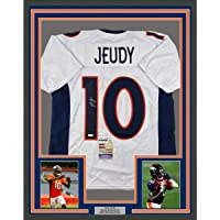 $449 » Framed Autographed/Signed Jerry Jeudy 33x42 Denver White Football Jersey JSA COA