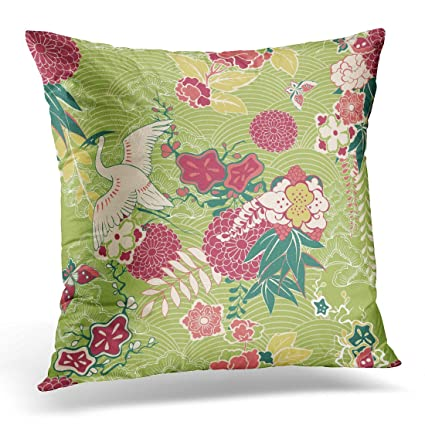 Amazon Sdamase Throw Pillow Cover Asian Oriental Silk Pattern Best Asian Pillow Covers