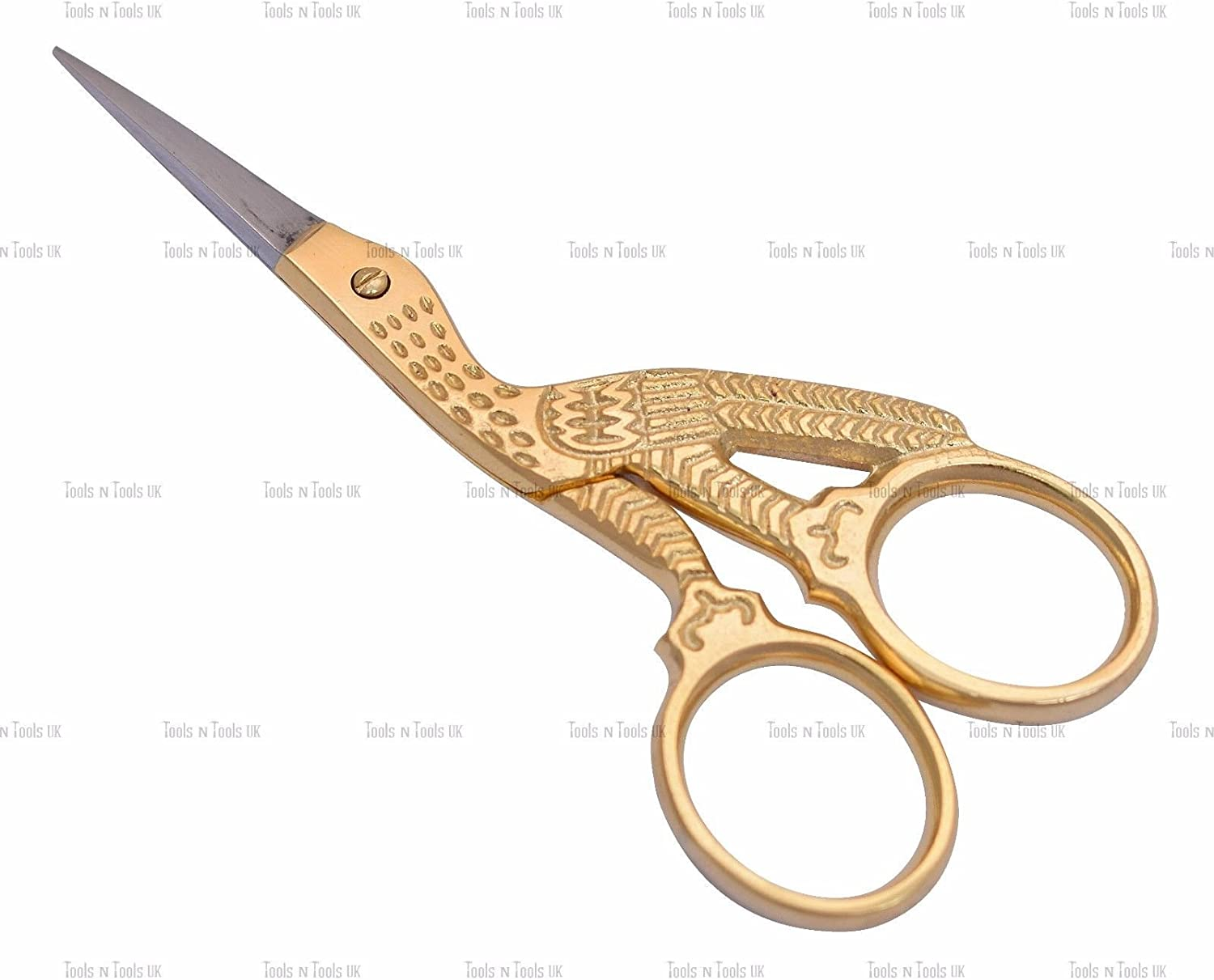 """3 pcs Stork Sewing Embroidery ManiCure Scissors Gold Plated 3.5/"""" Bird Shape"""