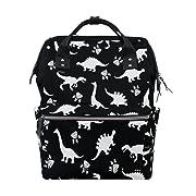 WOZO Cute Kids Dinosaur Paw Print Multi-function Diaper Bags Backpack Travel Bag