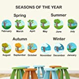 StickMe PVC Vinyl '4 Seasons In A Year Wall Sticker Learning Education Nursery School Kinder Garden for Baby (Multicolour, 120 X 60 cm)