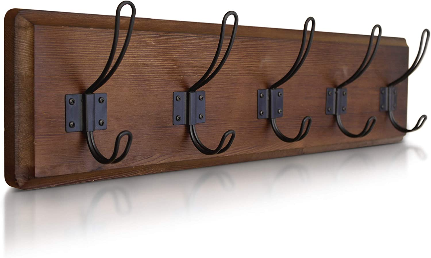 """HBCY Creations Rustic Coat Rack - Wall Mounted Wooden 24"""" Entryway Coat Hooks - 5 Rustic Hooks, Solid Pine Wood. Perfect Touch for Your Entryway, Kitchen, Bathroom. (Classic Brown)"""
