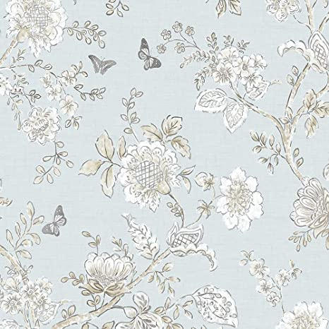 Norwall Fh37537 Butterfly Toile Wallpaper Prepasted Blue