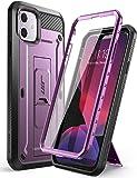 SUPCASE 独角兽甲壳虫专业系列手机壳专为 iPhone 11 6.1 英寸(2019 版),内置屏幕保护膜全身坚固皮套手机壳 MetallicPurple