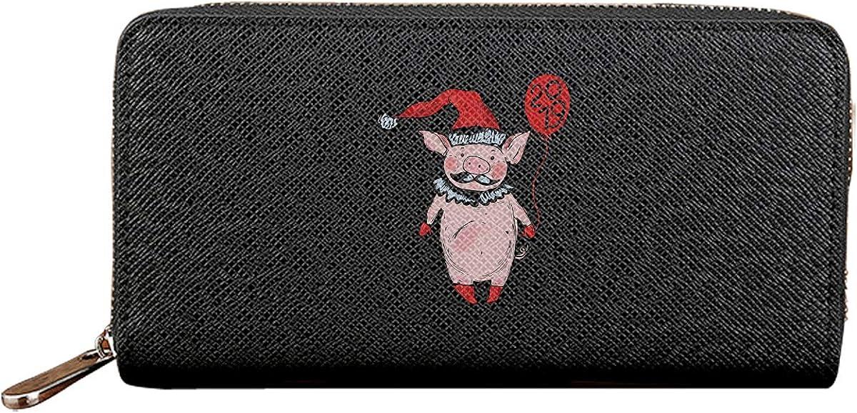 Pig Of New Year 2019 Long Wallets For Men Women Leather Wallet Unique Zipper Wallet
