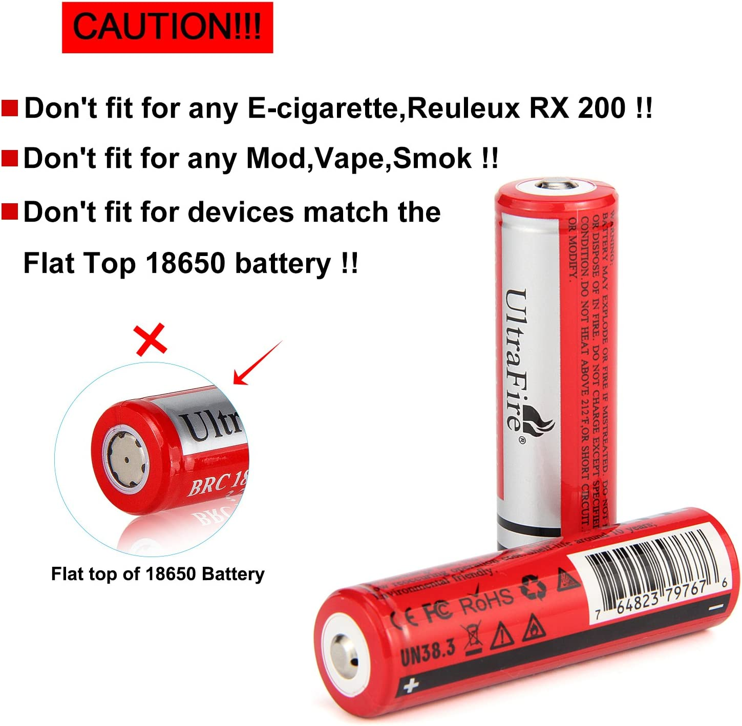 UltraFire Battery 2600mAh 3.7V Rechargeable Battery 18650 2 Pack Button Top