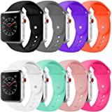 BOTOMALL Compatible With Apple Watch Band 38mm 42mm Classic Silicone Sport Replacement Strap Bracelet for Iwatch Sport Edition all Models Series 3 2 1 S/M M/L Size(8Pack, 42mm M/L)