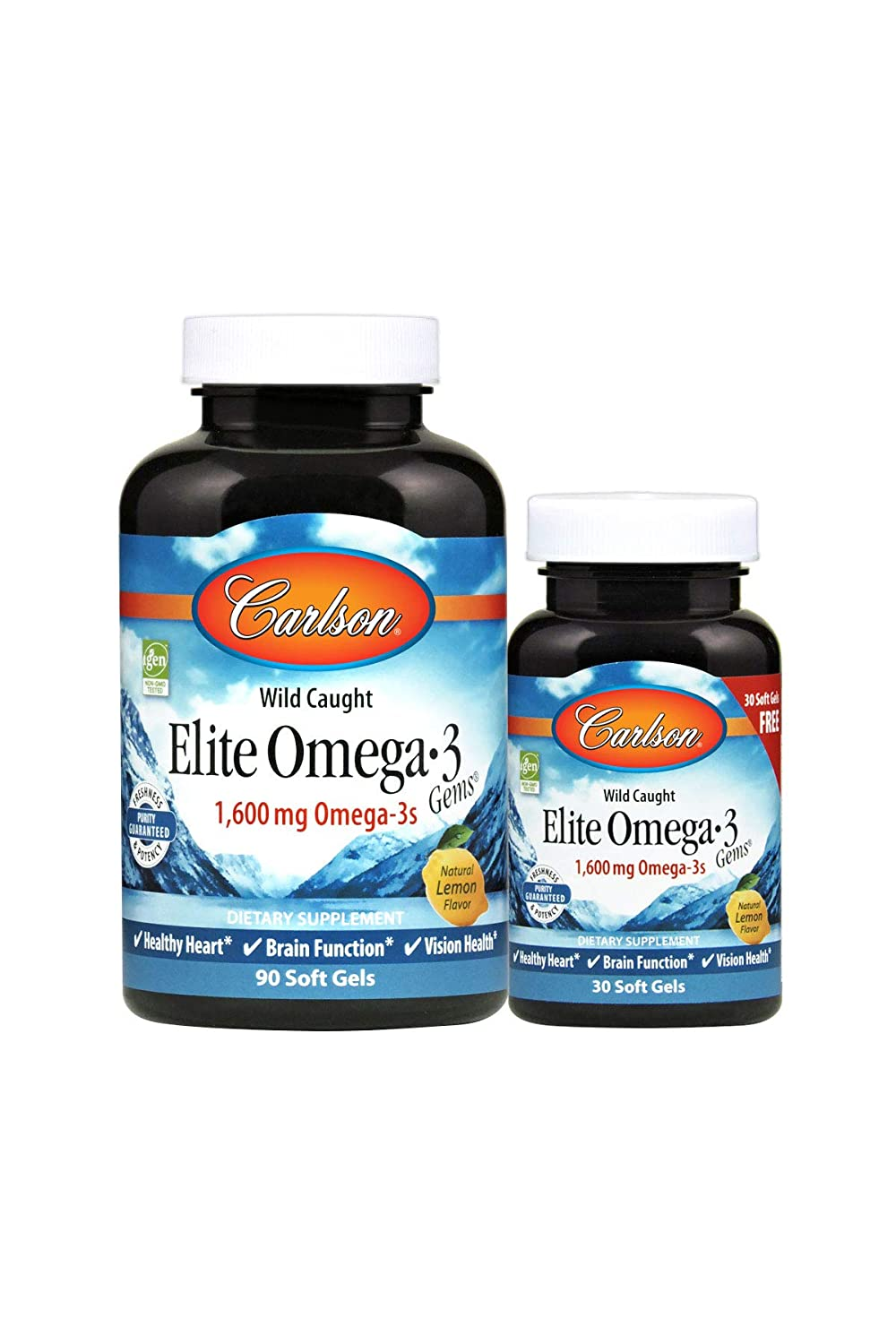 Carlson - Elite Omega-3 Gems, 1600 mg Omega-3 Fatty Acids including EPA and DHA, Norwegian, Wild-Caught Fish Oil Supplement, Sustainably Sourced Fish Oil Capsules, Lemon, 90+30 Softgels