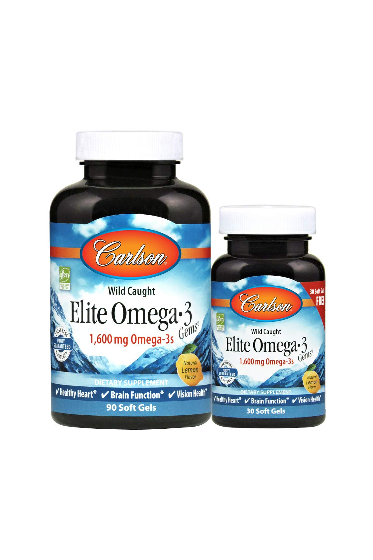 Carlson - Elite Omega-3 Gems, 1600 mg Omega-3s, Wild Caught, Sustainably Sourced, Lemon, 90+30 Soft gels