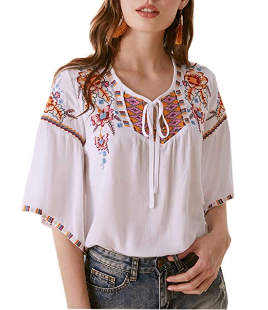 low priced half off good selling Mansy Women Casual Short Sleeve Embroidery Mexican Bohemian ...
