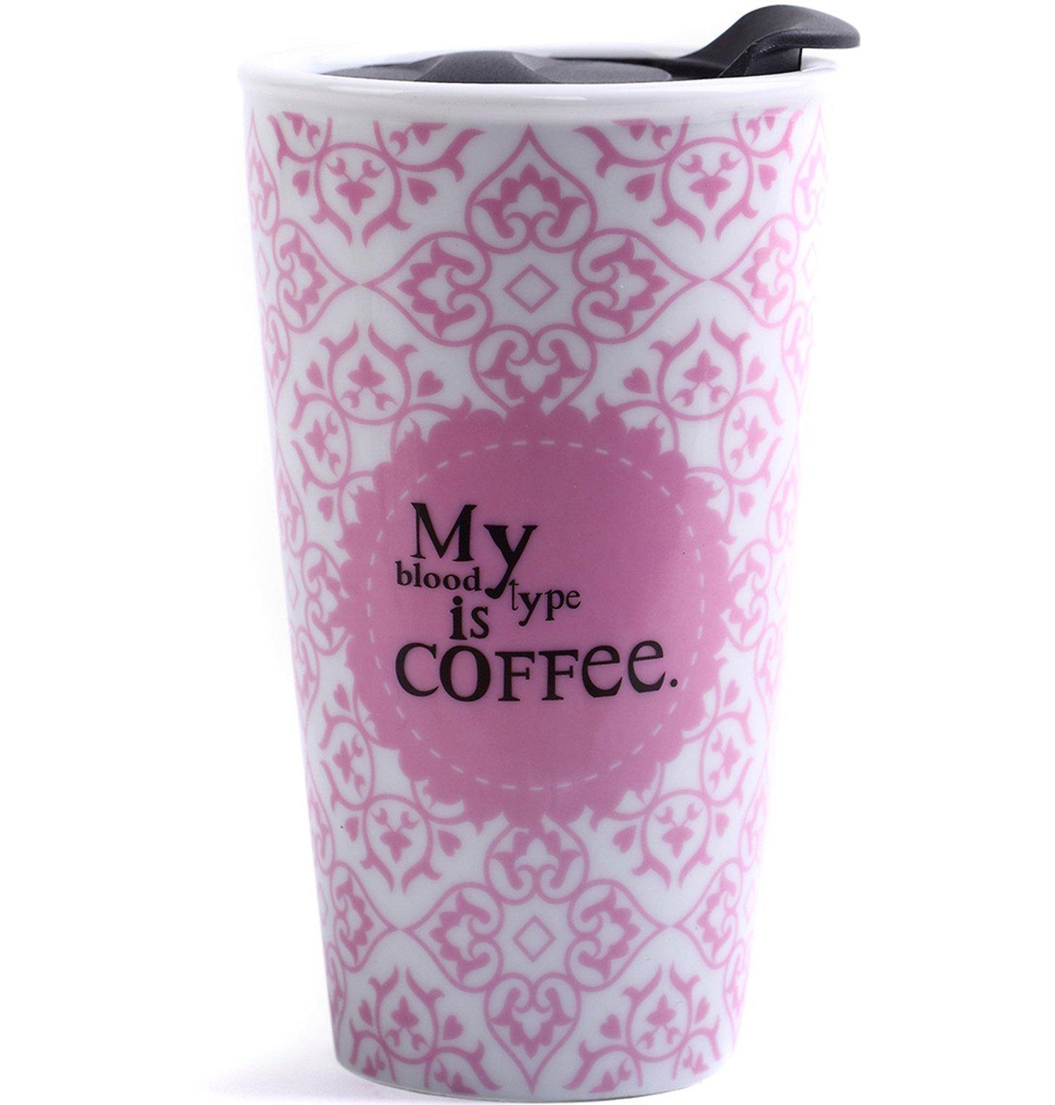CEDAR HOME Travel Coffee Ceramic Mug Tea Cup Double Wall Porcelain With Lid 11oz., Pink