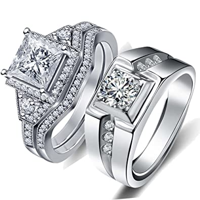 Couple Ring Bridal Sets His Hers 10k White Gold Plated White Aaa Cz Wedding Engagement Ring Band Set