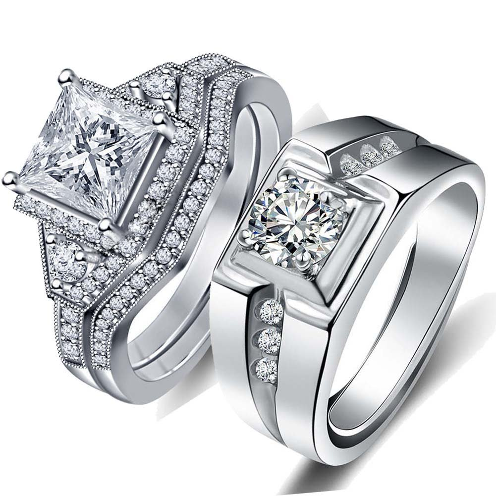 LOVERSRING Couple Ring Bridal Sets His Hers 10k White Gold Plated White AAA Cz Wedding Engagement Ring Band Set