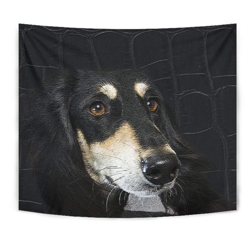 Black Saluki Dog Print Tapestry by Pawick