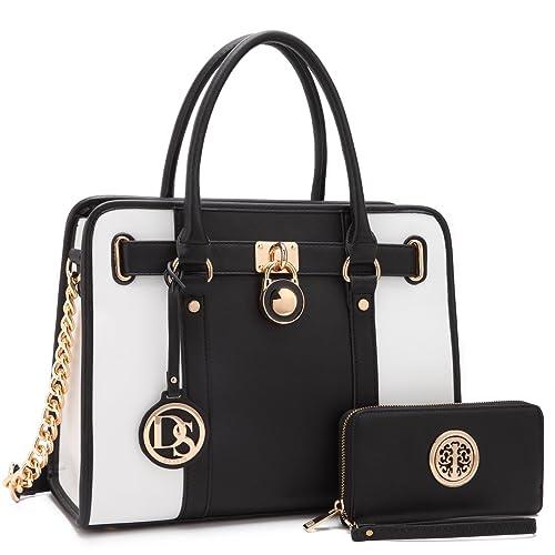 DASEIN Womens Fashion Handbags Shoulder Bag Satchel Purse Tote Top Handle Work Bag 2pcs Set for Ladies Women