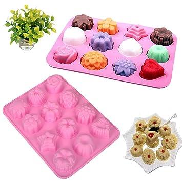 FineInno Cupcake Formas 12 moldes Cupcake para muffins Magdalenas Forma Moldes Moldes silicona cupcake Moulds Jabón Forma Back Praline Moldes reutilizables ...