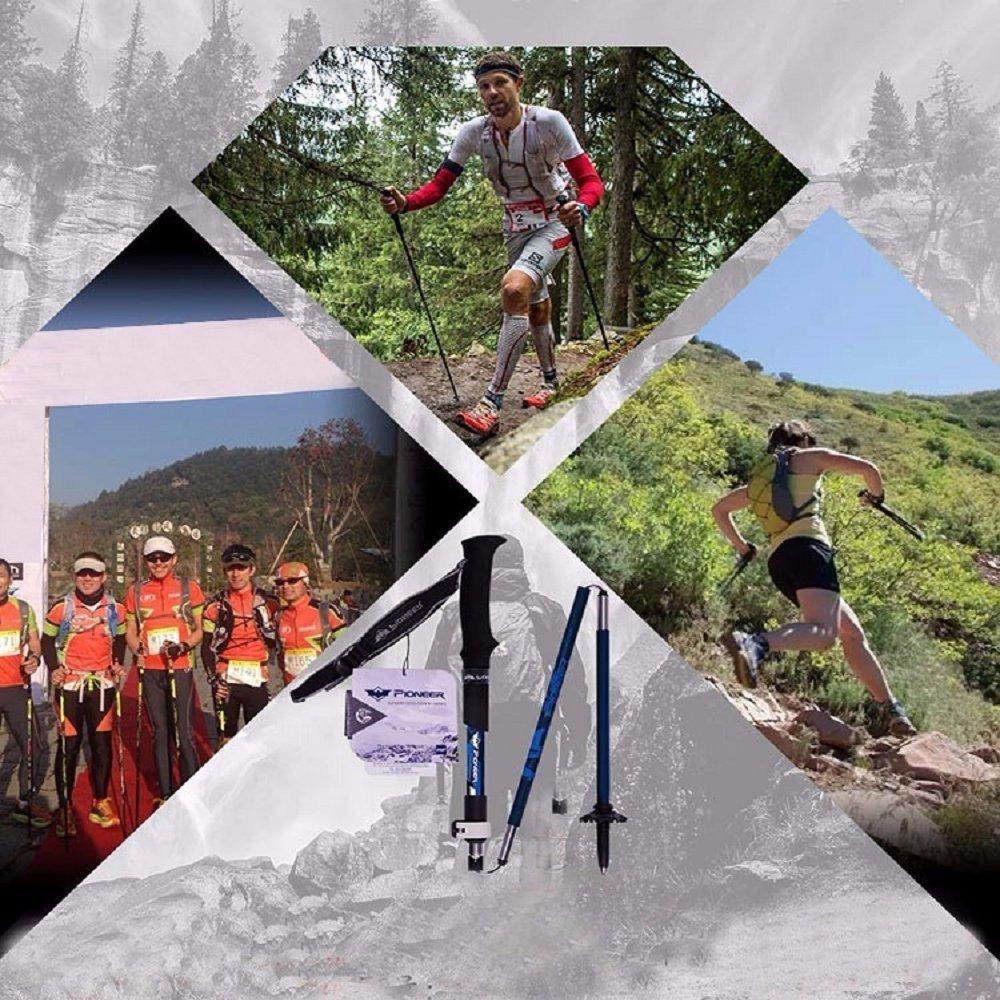 Bastón de trekking plegable para escalada, ajustable, ajustable, ajustable, ultraligero, triple pliegue, de fibra de carbono, telescópico, para viajes, senderismo, bastón de senderismo, azul 802b44