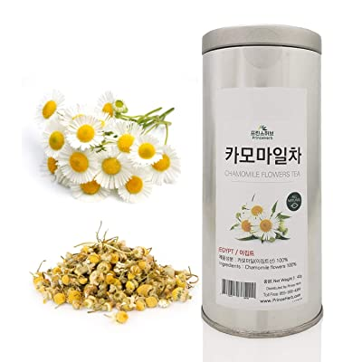 [Medicinal Herb] Organic Chamomile Flower Tea (Yangganju Hua/카모마일 차) Dried Bulk Herbs in a Gift Tin Caddy 42g (1.5oz) : Garden & Outdoor