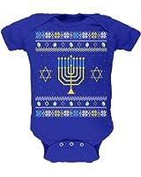 Menorah Ugly Hanukkah Sweater Royal Soft Baby One Piece