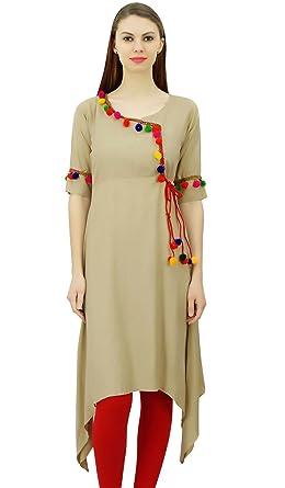 00fd07d5c9 Phagun Angrakha Style Rayon Womens Tunic Kurta Pom-Pom Designer Kurti Top  Indian Clothing