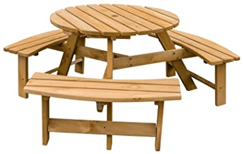 Amazoncom Merax Pine Wood Round Picnic Table and Benches