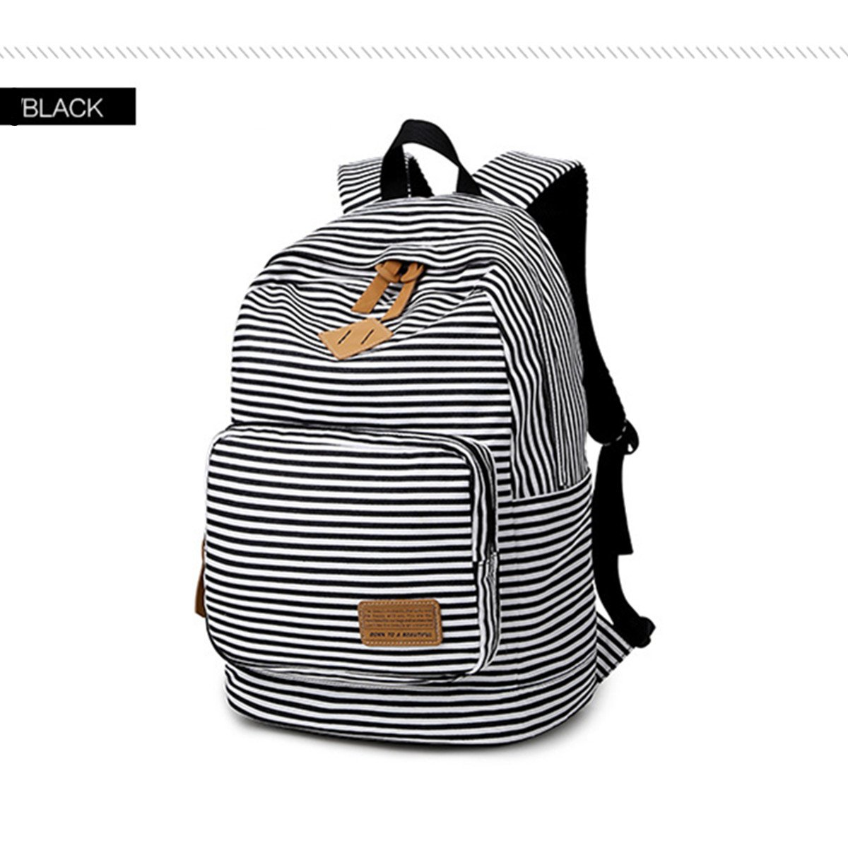 Black YQWEL Striped Canvas Backpack Girls School Bag Women Casual Travel Daypack