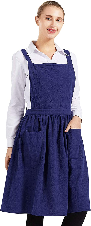 Nanxson Women Cotton Linen Bib Apron Cross Back Work Apron for Cooking,Baking,Crafting,Flower Arrangement CF3046