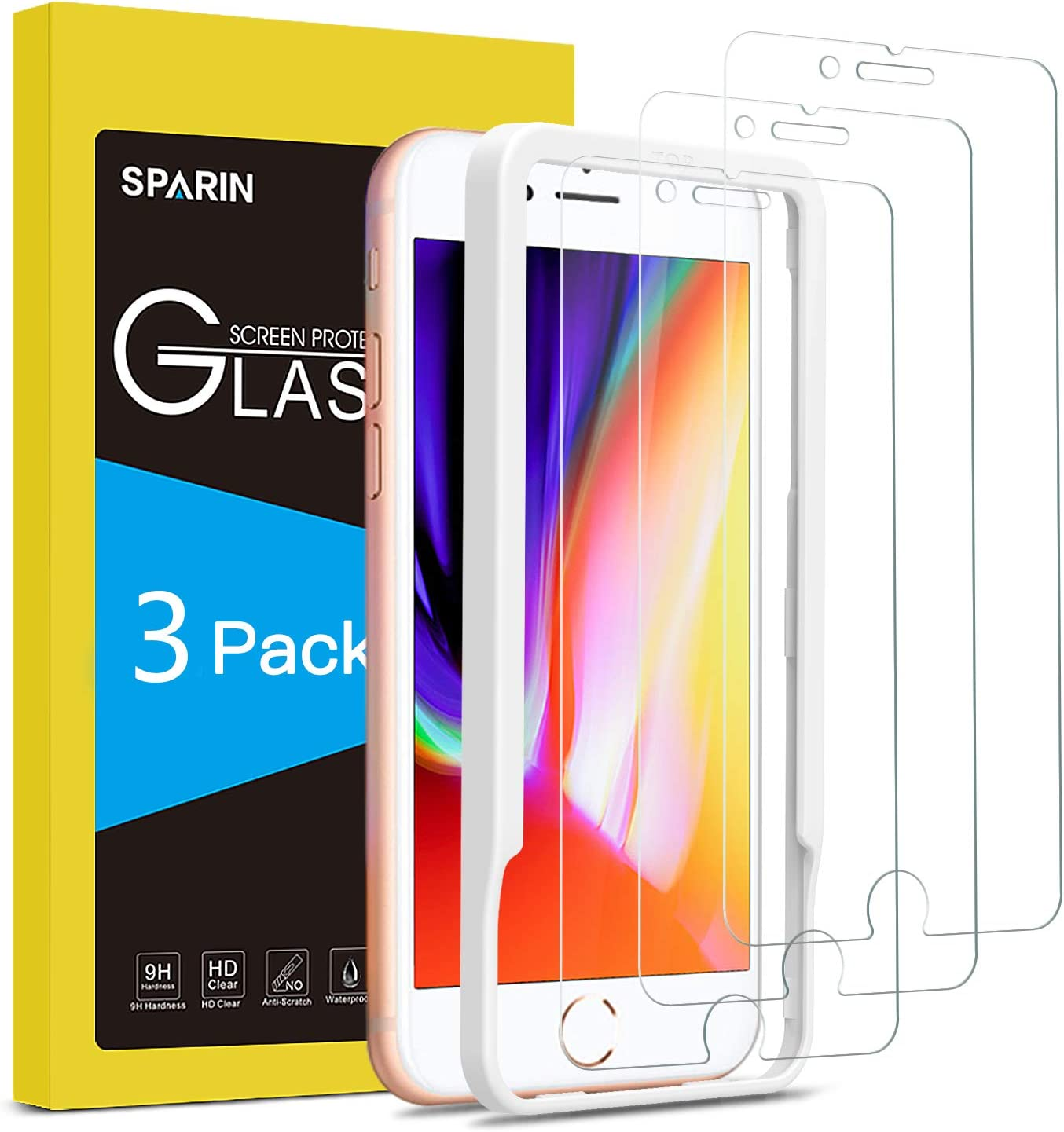 SPARIN [3-Pack Protector Pantalla iPhone 7 Plus/iPhone 8 Plus, Cristal Templado iPhone 7 Plus/iPhone 8 Plus, Vidrio Templado con [Sin Cobertura Toda Pantalla] [9H Dureza] [Alta Definicion]