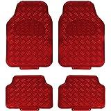 JVL 01-692 Titan Tappetini Auto Design Metallico con Lato Inferiore in Gomma, Rosso, Set di 4