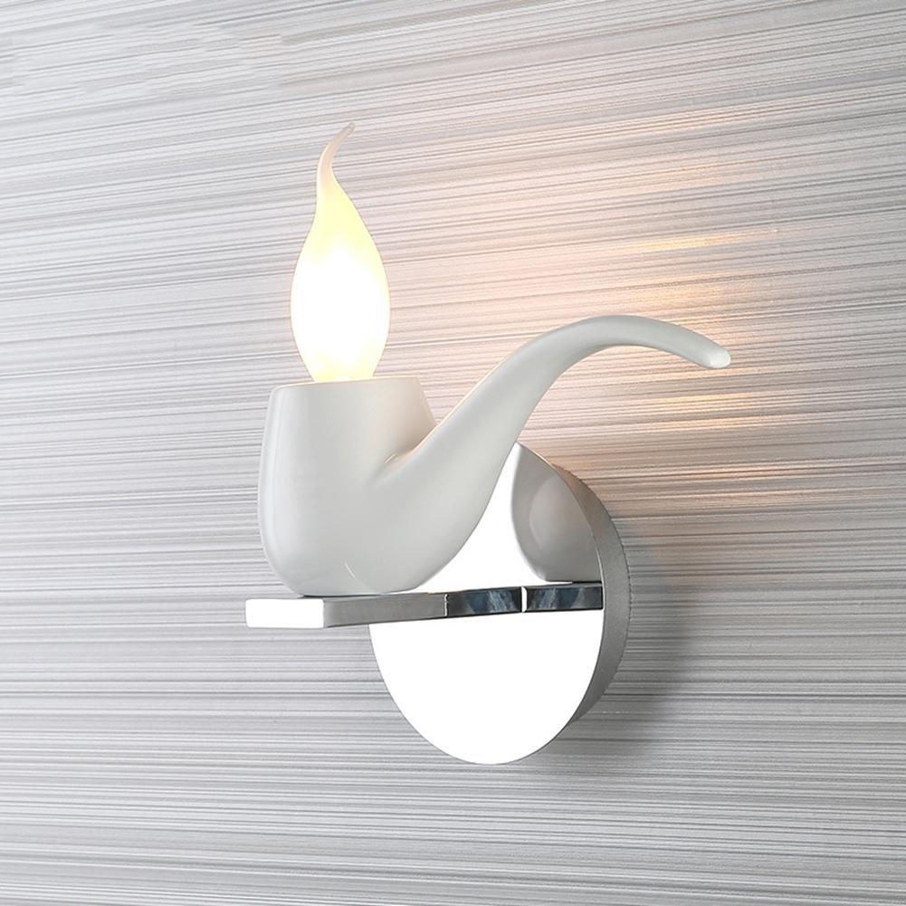 DENG LED-Wand-Lampen-Rohr-Harz-dekoratives Metalleisen E14 Wand-Licht, Weiß