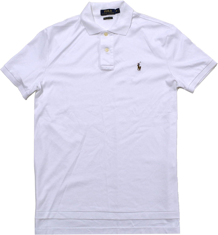Polo Ralph Lauren Hombres Camisa Acanalada Ajuste Suave al Tacto Polo Blanco Medio: Amazon.es: Ropa y accesorios