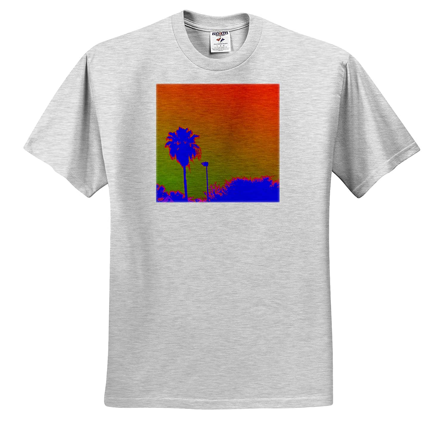 Floral and Tree Abstracts Image of Blue Neon Palm with Orange Green Sky T-Shirts 3dRose Lens Art by Florene