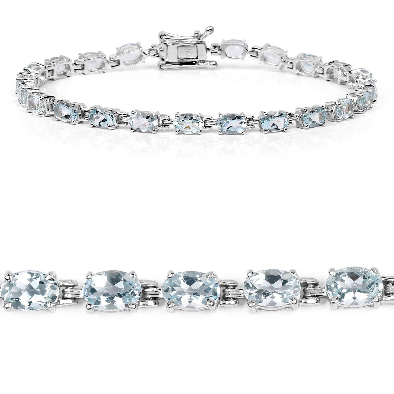 8.80 Carat Genuine Aquamarine .925 Sterling Silver Bracelet
