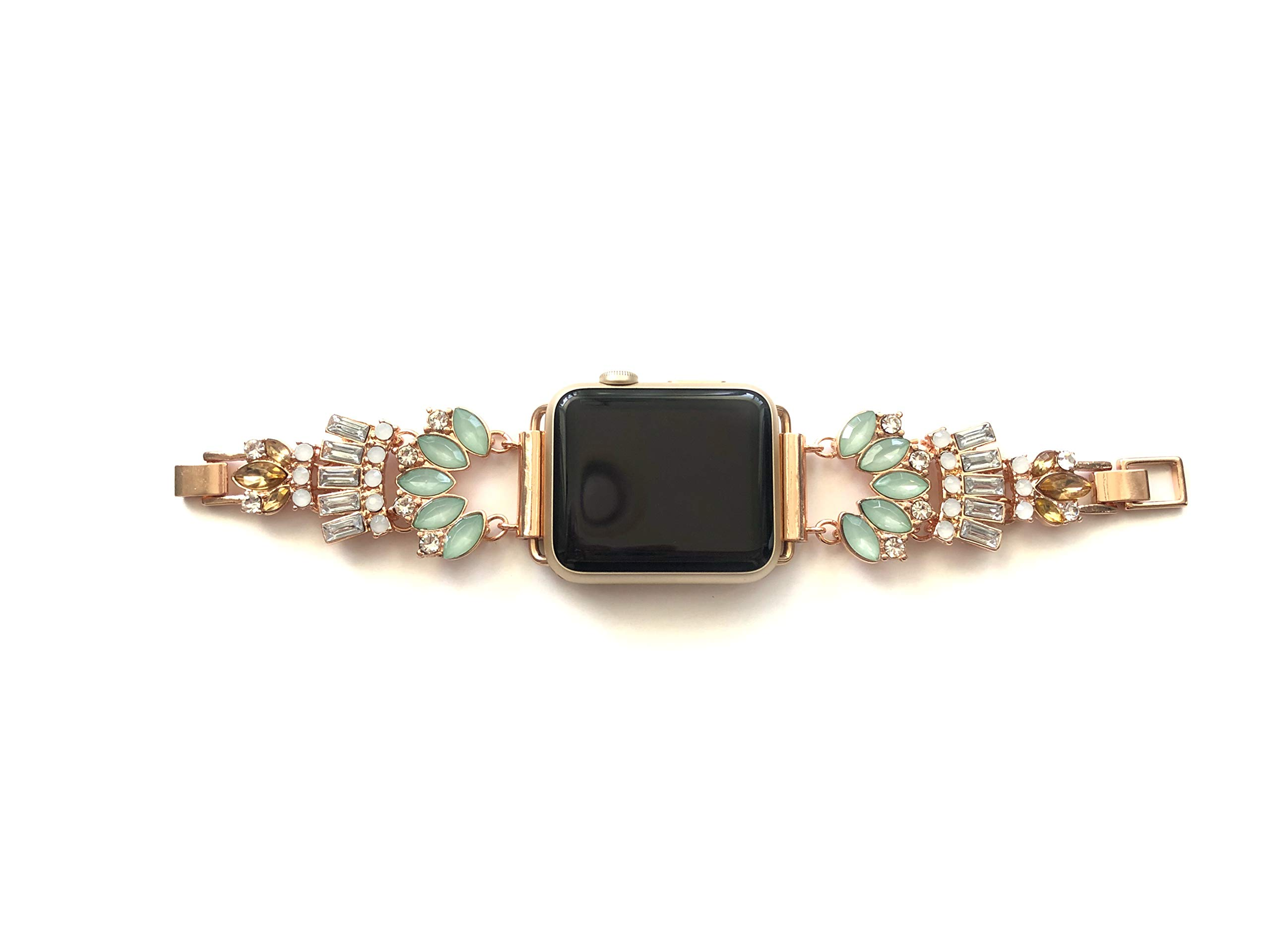 Copper Robin Women's Replacement Apple Watch Band Compatible with Apple Watch Statement Bracelet Jewelry Apple Watch Band Replacement Gold Apple Watch Band 42mm and 38mm (Gatsby Rose Gold 38 Prime)