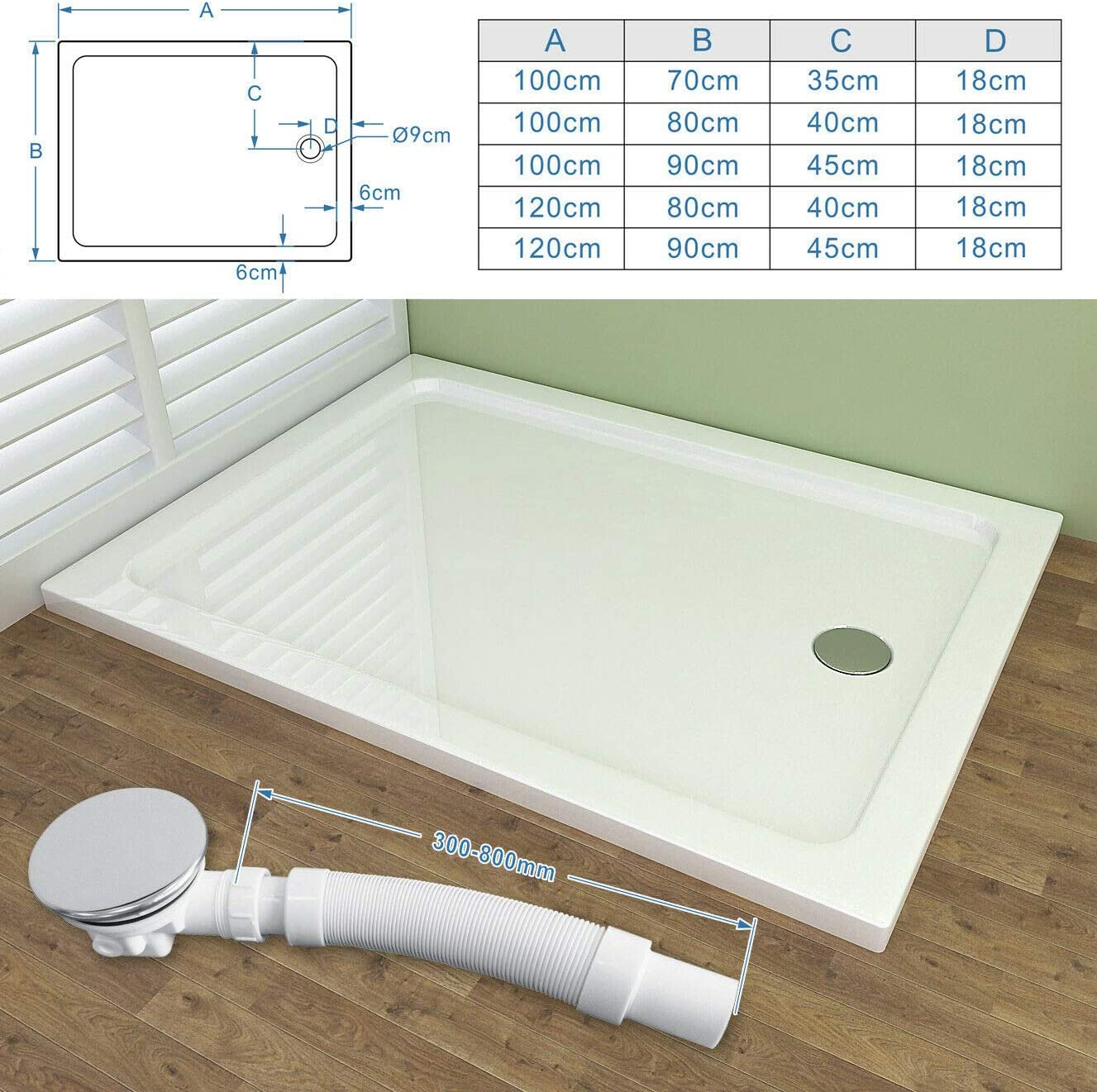 High Flow Shower Trap Chrome Waste Trap 90mm for Shower Tray with 80cm Flexible Connector Pipe