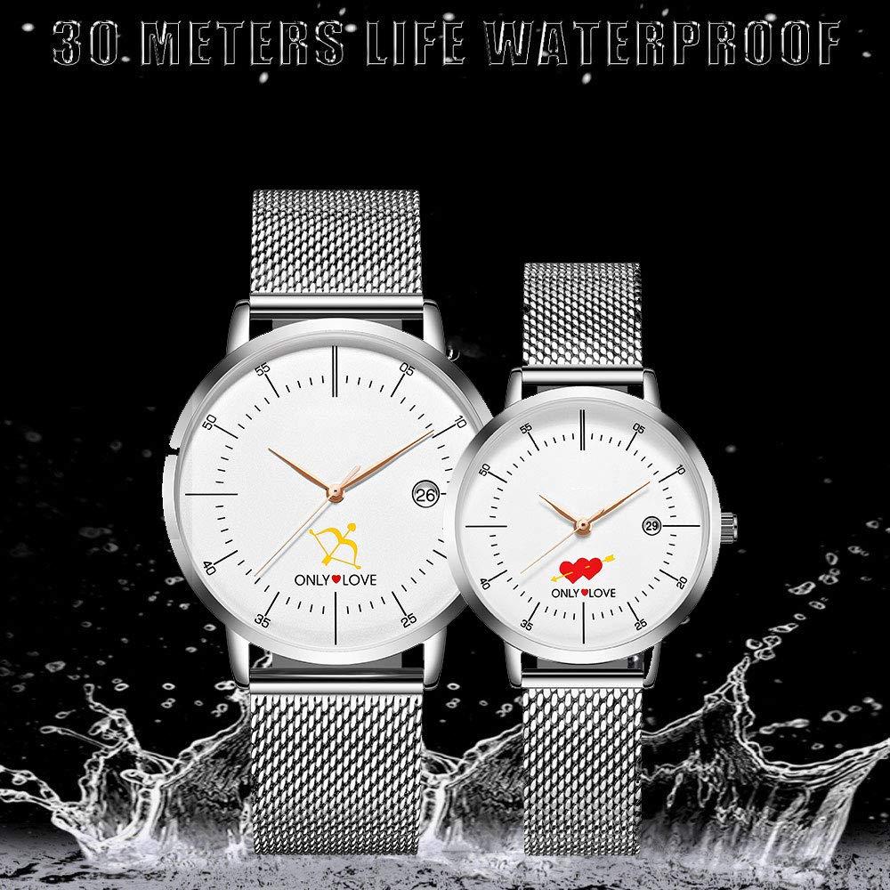 N·XHXL Parklockor klassisk stål nätbälte klocka, hans och hennes Cupid's pilen vattentät kvarts armbandsur presenter set med 2 en